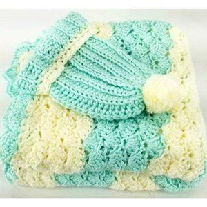 Vintage Crocheted Baby Blanket and Hat